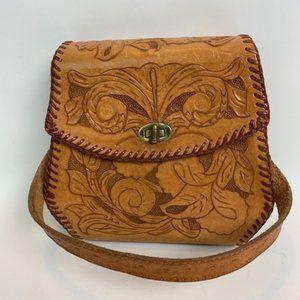 Vintage Hand Tooled Leather Hand Bag Floral Motif
